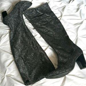 Eloquii 9W Glitter Flecked Heeled Tall Soft Boots